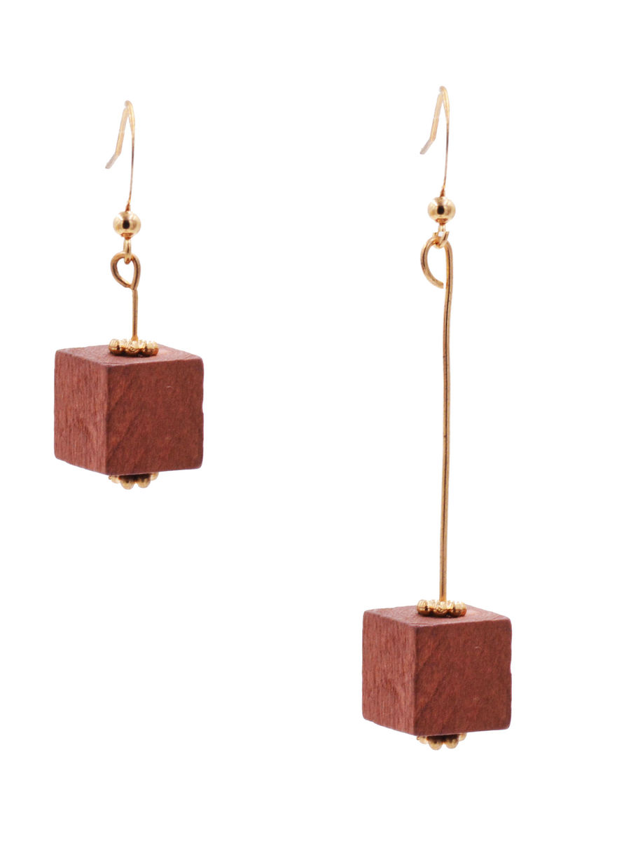 Real Wood Cube Mismatched Drop Hook Earrings in Gold Tone - Mahogany Red Colour - Minimalist Geometric Design - In Organza Bag.    - product images  of