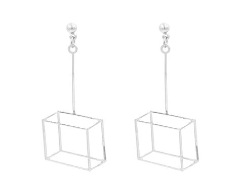 Rhodium,Plated,Geometric,Optical,Illusion,3D,effect,Box,Frame,Cube,Earrings,In,Silver,Tone,-,Pretty,,Fun,and,Quirky,Jewellery,Organza,Bag.,Rhodium Plated Optical Illusion 3D effect Box Frame Earrings In Silver Tone - Pretty, Fun and Quirky Jewellery - In Organza Bag.