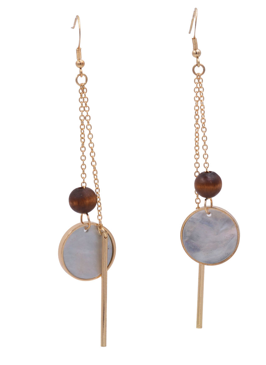 Handmade Geometric Earrings with Dangling Sea Abalone Shell Disk, Vertical Bar and Wood Bead - Modern Minimalist Design - In Organza Bag.   - product images  of