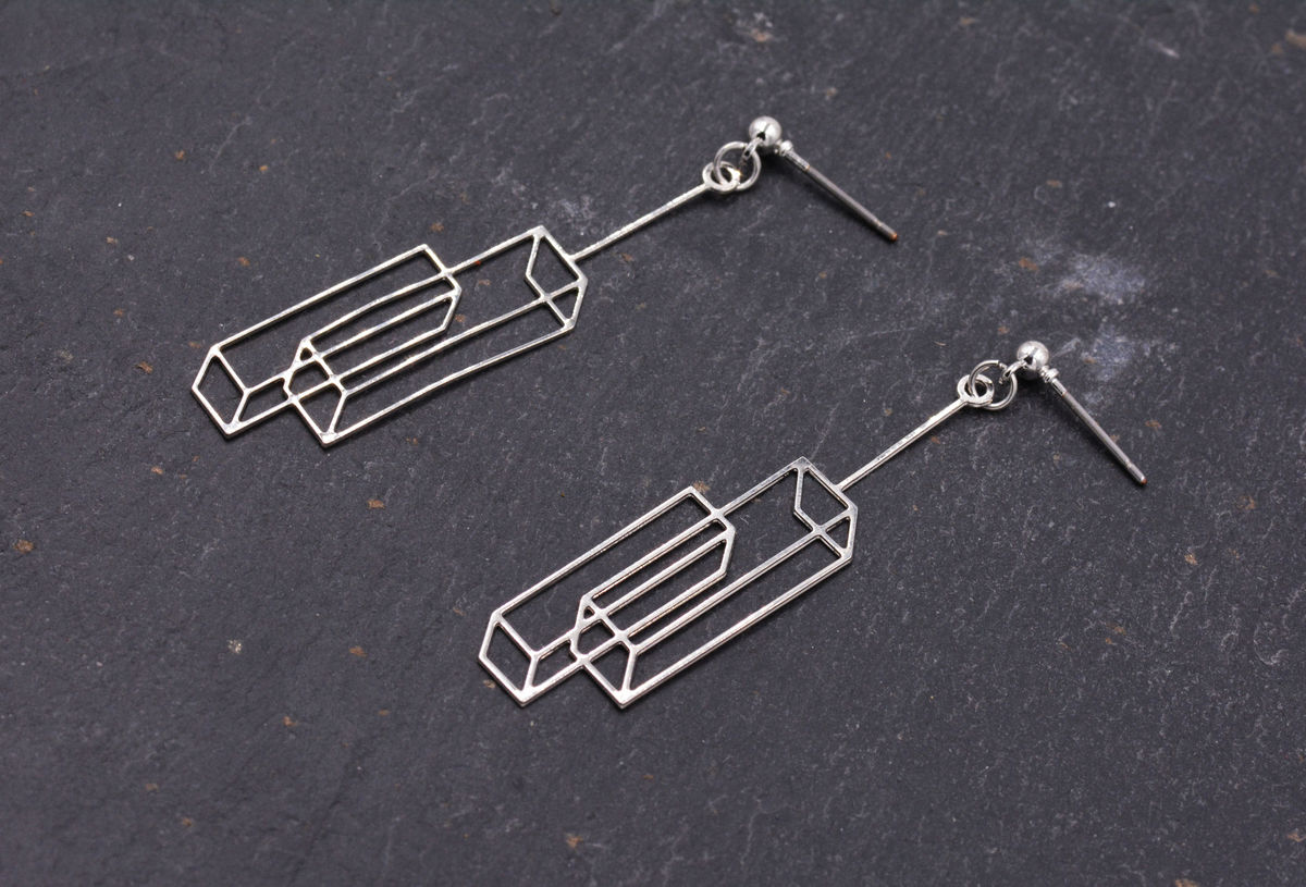 Silver Plated Optical Illusion 3D effect Box Duo Frame Earrings - Cuboid Interlinked Cubes - Pretty, Fun and Quirky Geometric Jewellery - In Organza Bag.  - product images  of