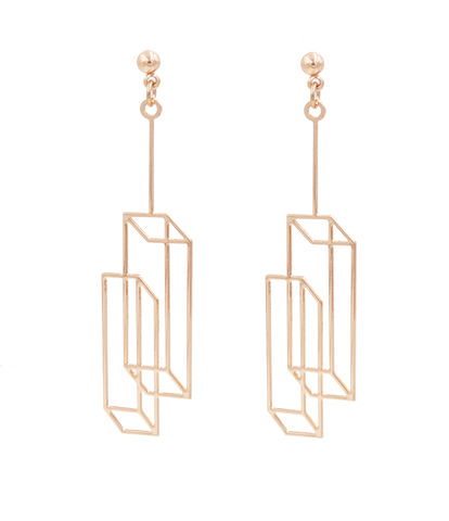 Gold,Plated,Optical,Illusion,3D,effect,Box,Duo,Frame,Geometric,Earrings,-,Cuboid,Interlinked,Cubes,Pretty,,Fun,and,Quirky,Jewellery,In,Organza,Bag.,Gold Plated Optical Illusion 3D effect Box Duo Frame Earrings - Cuboid Interlinked Cubes - Pretty, Fun and Quirky Jewellery - In Organza Bag.