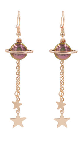 Gold,Plated,Shiny,Purple,Stone,Little,Saturn,Planet,with,Halo,and,Dangling,Star,Charms,Drop,Hook,Earrings,-,Cute,,Fun,Quirky,Jewellery,Gold Plated Shiny Purple Stone Little Saturn Planet with Halo and Dangling Star Charms Drop Hook Earrings - Cute, Fun and Quirky Jewellery
