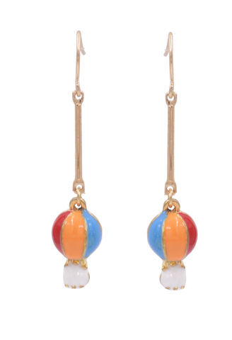 Cute,Pair,of,Small,Hot,Air,Balloon,Multi-Colour,Drop,Hook,Earrings,with,Enamel,Plating,-,Fun,and,Quirky,Jewellery,In,Organza,Bag.,Cute Pair of Small Hot Air Balloon Multi-Colour Drop Hook Earrings with Enamel Plating - Fun and Quirky Jewellery - In Organza Bag.