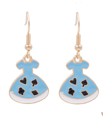 Alice,in,Wonderland,'Alice's,Suits,Pattern,Blue,Dress',Drop,Hook,Earrings,Gold,Tone,with,Enamel,Plating,-,Cute,,Fun,and,Quirky,Jewellery,Alice in Wonderland 'Alice's Suits Pattern Blue Dress' Drop Hook Earrings in Gold Tone with Enamel Plating - Cute,  Fun and Quirky Jewellery