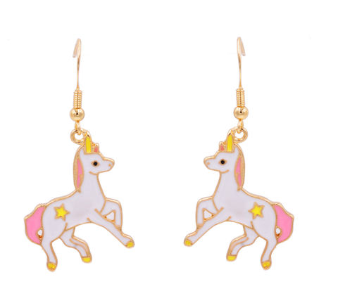 Little,Unicorn,Horse,with,a,Star,Enamel,Drop,Hook,Earrings,-,Pink,Cute,Fun,Pretty,and,Quirky,Jewellery,In,Organza,Bag.,Little Unicorn Horse with a Star Enamel Drop Hook Earrings - Pink - Cute Fun Pretty and Quirky Jewellery - In Organza Bag.