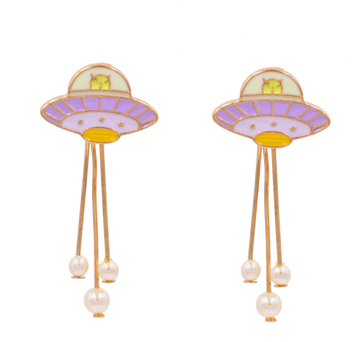 Alien in UFO Front and Back Two Part Earrings Ear Jacket in Gold Tone and with Purple and Green Enamel - Cute Fun Pretty and Quirky Jewellery  - product images  of