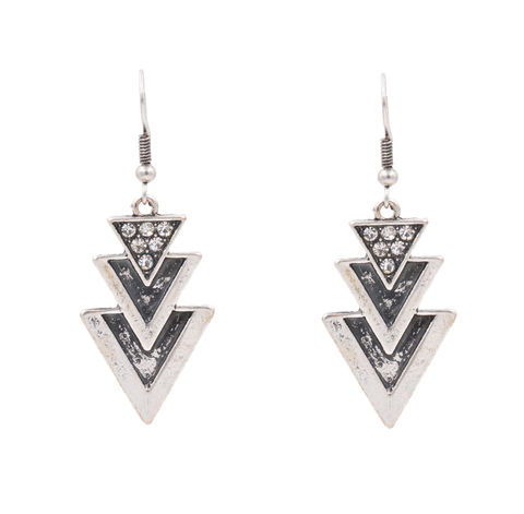 Antique,Silver,Tone,Triangle,Trio,Boho,Style,Drop,Hook,Earrings,with,Crystals,-,Funky,Ethnic,Inspired,Geometric,Design,In,Organza,Bag.,Antique Silver Tone Triangle Trio Boho Style Drop Hook Earrings with Crystals - Funky Ethnic Inspired Geometric Design - In Organza Bag.