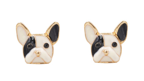 Little,Bulldog,Black,and,White,Terrier,Dog,Puppy,Enamel,Stud,Earrings,-,Cute,,Fun,Quirky,Jewellery,In,Organza,Bag.,Little Bulldog Black and White Terrier Dog Puppy Enamel Stud Earrings - Cute, Fun and Quirky Jewellery - In Organza Bag.