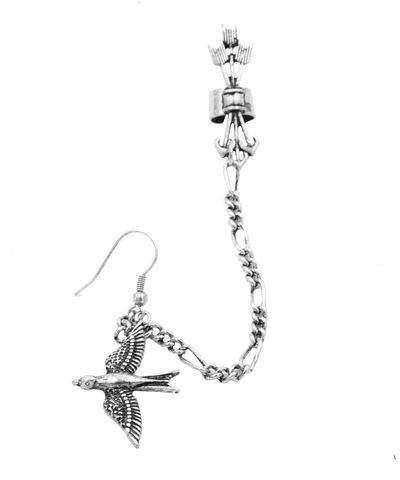 One,Piece,Antique,Silver,Tone,Bird,Drop,Hook,Earring,and,Linked,Chain,with,Bundle,of,Arrow,Ear,Cuff,-,Funky,Unique,Jewellery,In,Organza,Bag.,One Piece Antique Silver Tone Bird Drop Hook Earring and Linked Chain with Bundle of Arrow Ear Cuff - Funky Unique Jewellery - In Organza Bag.