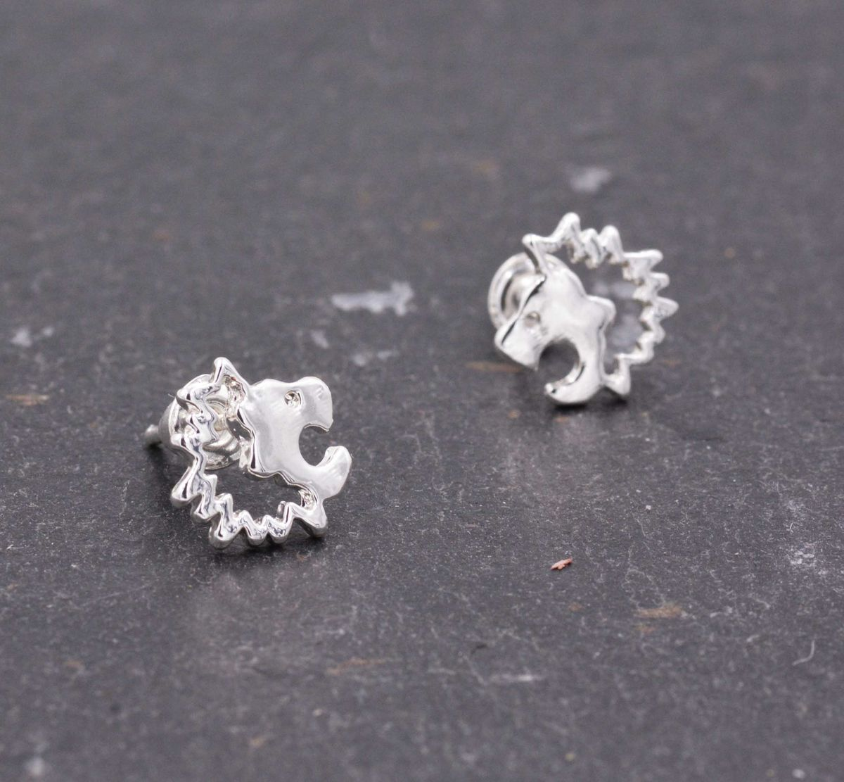 Silver Plated Little Roaring Lion Stud Earrings - Cute,  Fun and Quirky Jewellery - In Organza Bag.  - product images  of