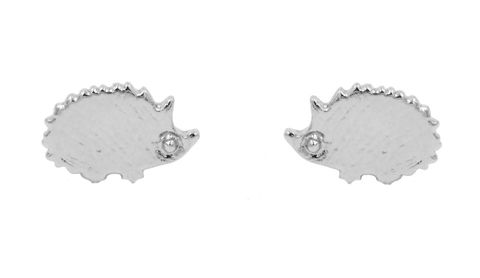 Silver,Plated,Little,Hedgehog,Stud,Earrings,with,Textured,Finish,-,Cute,,Fun,and,Quirky,Jewellery,In,Organza,Bag.,Silver Plated Little Hedgehog Stud Earrings with Textured Finish - Cute,  Fun and Quirky Jewellery - In Organza Bag.