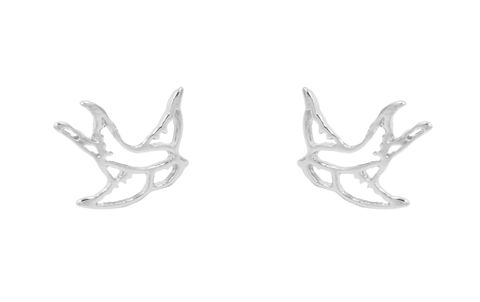 Silver,Plated,Cutout,Swallow,Bird,Kitsch,Style,Stud,Earrings,-,Cute,,Fun,and,Quirky,Jewellery,In,Organza,Bag.,Silver Plated Cutout Swallow Bird Kitsch Style Stud Earrings - Cute,  Fun and Quirky Jewellery - In Organza Bag.