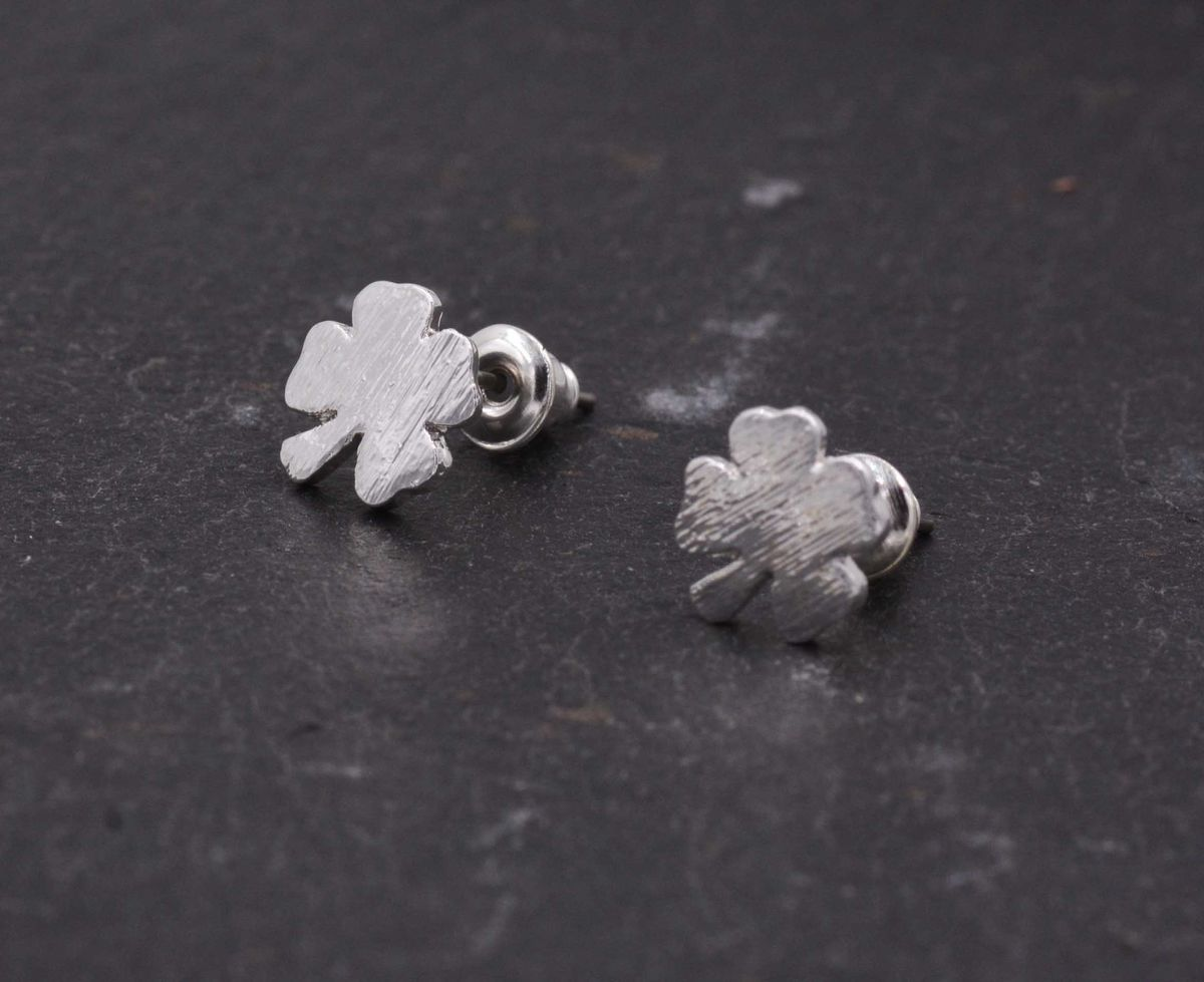 Silver Plated Little Four Leaf Clover Shamrock Stud Earrings - Dainty and Delicate - Cute,  Fun and Quirky Jewellery - In Organza Bag.  - product images  of