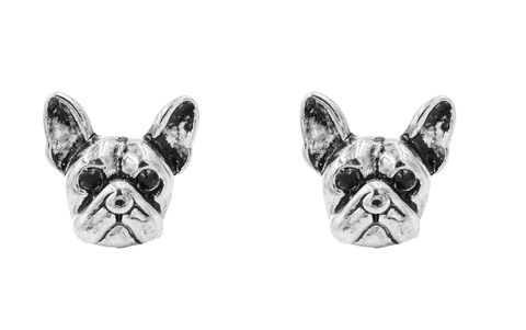 Antique,Silver,Tone,Little,Bulldog,Terrier,Stud,Earrings,-,Cute,,Fun,and,Quirky,Jewellery,In,Organza,Bag.,Antique Silver Tone Little Bulldog Terrier Stud Earrings - Cute,  Fun and Quirky Jewellery - In Organza Bag.
