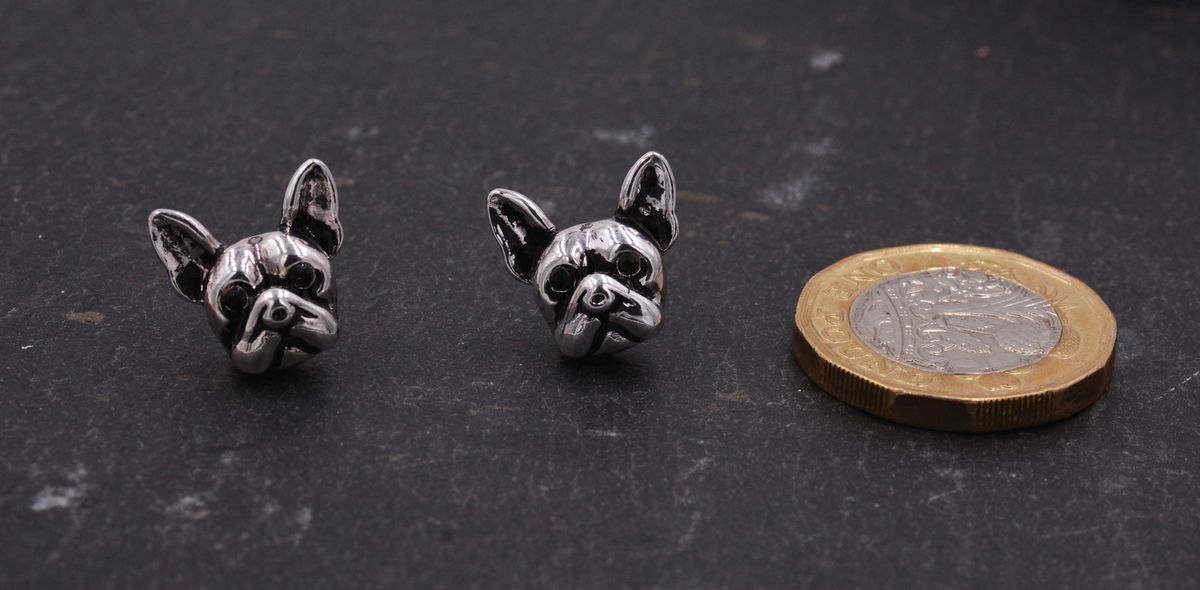 Antique Silver Tone Little Bulldog Terrier Stud Earrings - Cute,  Fun and Quirky Jewellery - In Organza Bag.  - product images  of
