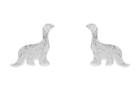Silver,Plated,Little,Apatosaurus,Dinosaur,Stud,Earrings,-,Cute,,Fun,and,Quirky,Jewellery,In,Organza,Bag.,Silver Plated Little Apatosaurus Dinosaur Stud Earrings - Cute,  Fun and Quirky Jewellery - In Organza Bag.