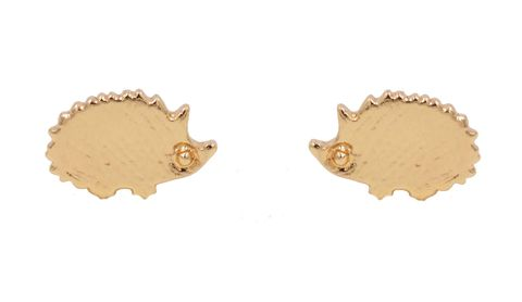 Gold,Plated,Little,Hedgehog,Stud,Earrings,with,Textured,Finish,-,Cute,,Fun,and,Quirky,Jewellery,In,Organza,Bag.,Gold Plated Little Hedgehog Stud Earrings with Textured Finish - Cute,  Fun and Quirky Jewellery - In Organza Bag.