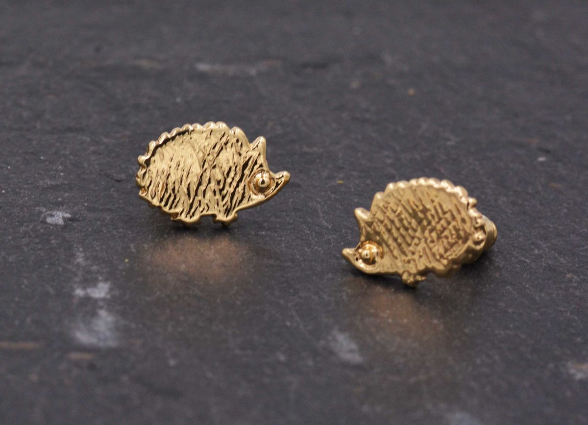 Gold Plated Little Hedgehog Stud Earrings with Textured Finish - Cute,  Fun and Quirky Jewellery - In Organza Bag.  - product images  of