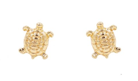 Gold,Plated,Little,Turtle,Tortoise,Stud,Earrings,-,Cute,,Fun,and,Quirky,Jewellery,In,Organza,Bag.,Gold Plated Little Turtle Tortoise Stud Earrings - Cute,  Fun and Quirky Jewellery - In Organza Bag.