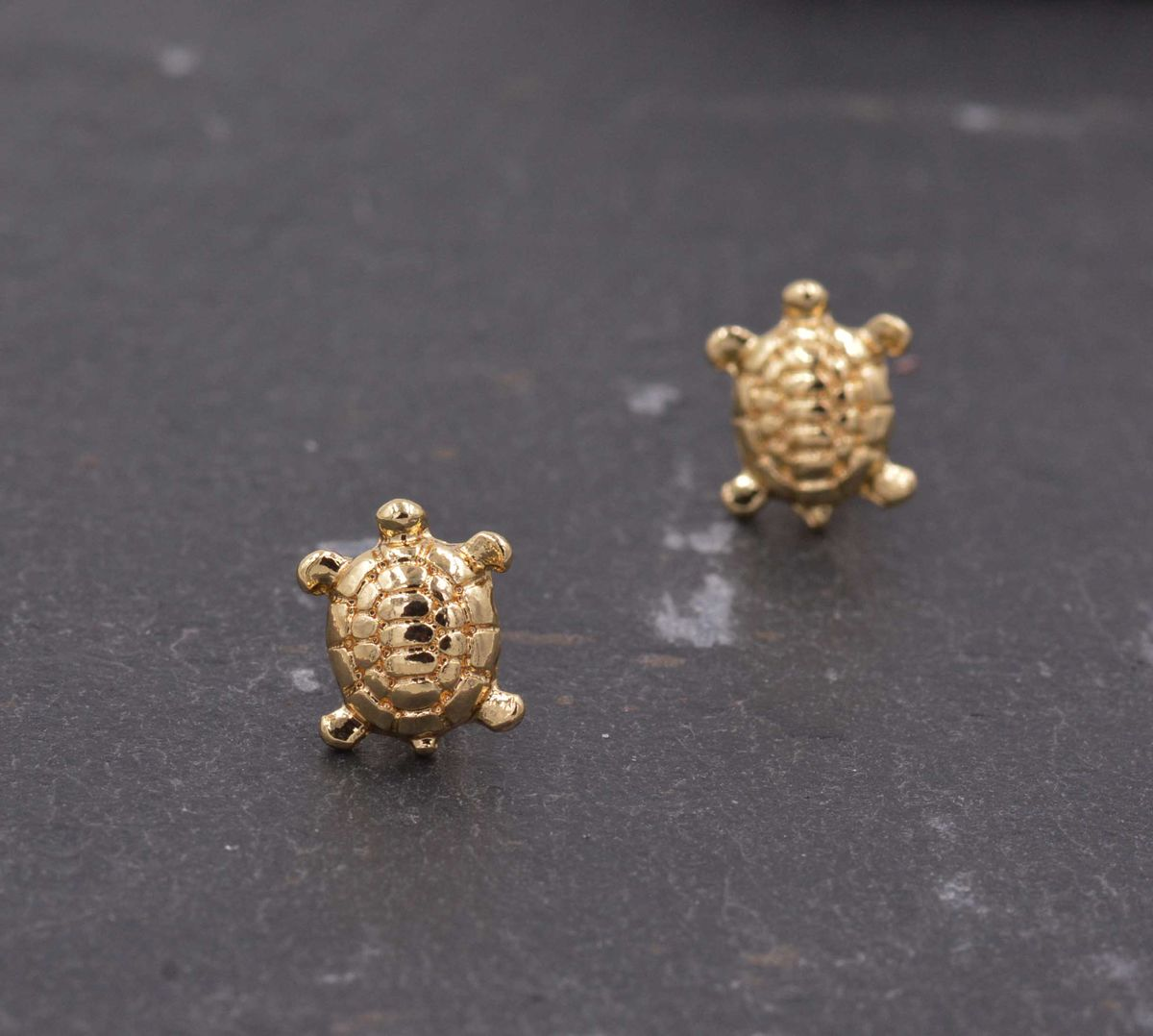 Gold Plated Little Turtle Tortoise Stud Earrings - Cute,  Fun and Quirky Jewellery - In Organza Bag.  - product images  of