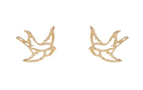 Gold,Plated,Cutout,Swallow,Bird,Kitsch,Style,Stud,Earrings,-,Cute,,Fun,and,Quirky,Jewellery,In,Organza,Bag.,Gold Plated Cutout Swallow Bird Kitsch Style Stud Earrings - Cute,  Fun and Quirky Jewellery - In Organza Bag.