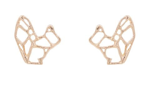 Gold,Plated,Cutout,Geometric,Squirrel,Origami,Style,Stud,Earrings,-,Cute,,Fun,and,Quirky,Jewellery,In,Organza,Bag.,Gold Plated Cutout Geometric Squirrel Origami Style Stud Earrings - Cute,  Fun and Quirky Jewellery - In Organza Bag.