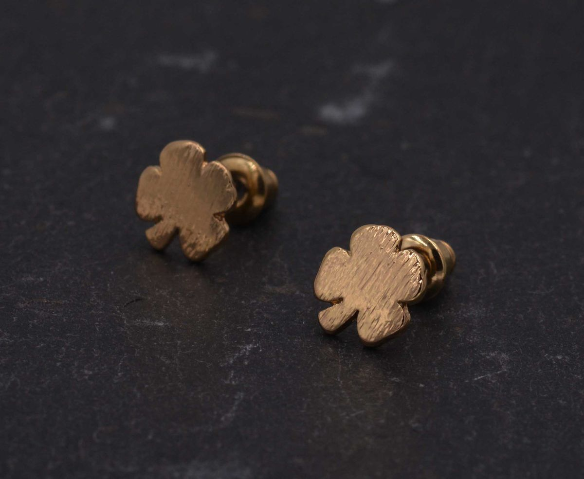 Gold Plated Little Four Leaf Clover Shamrock Stud Earrings - Dainty and Delicate - Cute,  Fun and Quirky Jewellery - In Organza Bag.  - product images  of