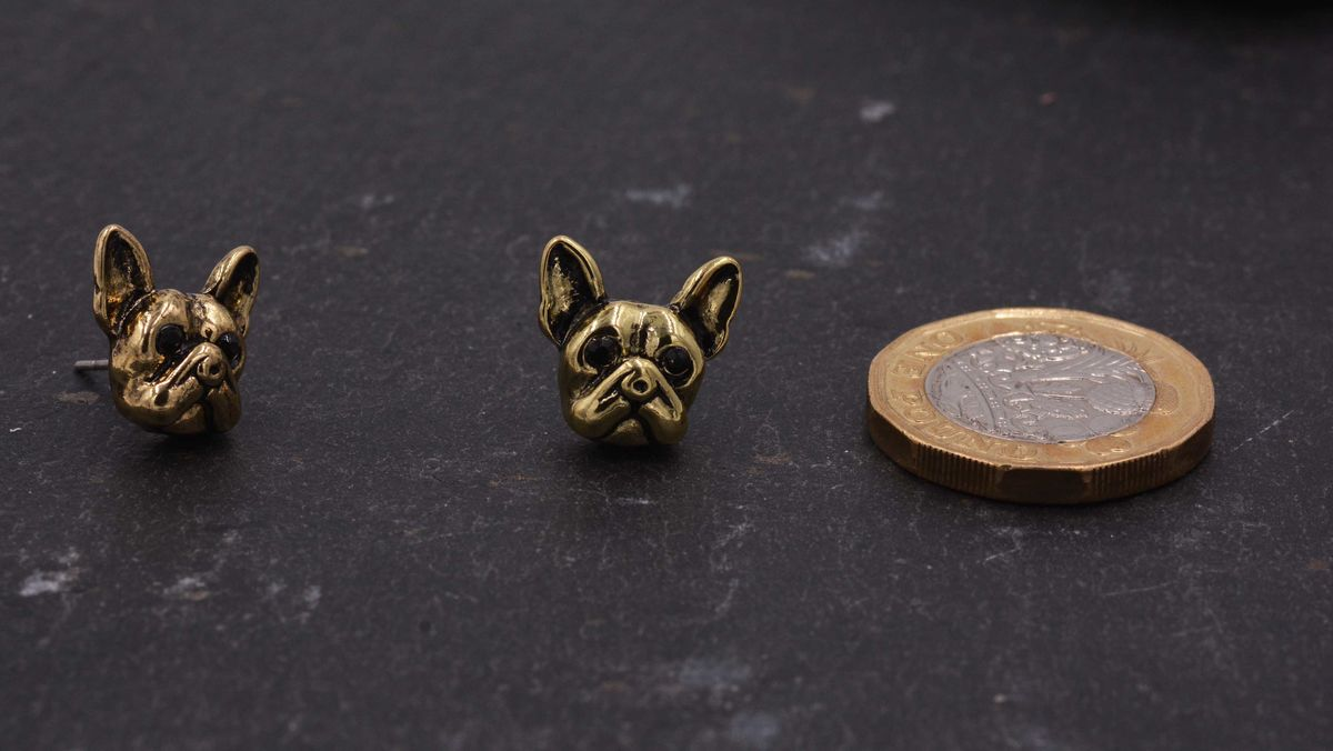Antique Gold Tone Little Bulldog Terrier Stud Earrings - Cute,  Fun and Quirky Jewellery - In Organza Bag.  - product images  of