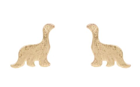 Gold,Plated,Little,Apatosaurus,Dinosaur,Stud,Earrings,-,Cute,,Fun,and,Quirky,Jewellery,In,Organza,Bag.,Gold Plated Little Apatosaurus Dinosaur Stud Earrings - Cute,  Fun and Quirky Jewellery - In Organza Bag.