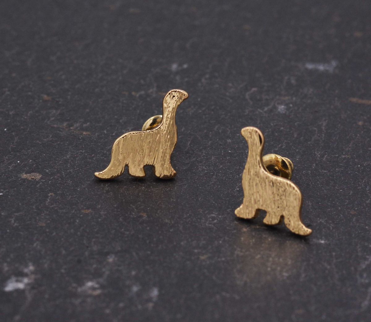 Gold Plated Little Apatosaurus Dinosaur Stud Earrings - Cute,  Fun and Quirky Jewellery - In Organza Bag.  - product images  of