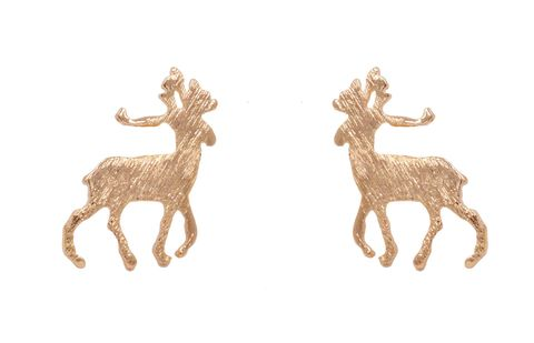 Gold,Plated,Little,Stag,Deer,with,Antlers,Stud,Earrings,Textured,Finish,-,Cute,,Fun,and,Quirky,Jewellery,In,Organza,Bag.,Gold Plated Little Stag Deer with Antlers Stud Earrings with Textured Finish - Cute,  Fun and Quirky Jewellery - In Organza Bag.