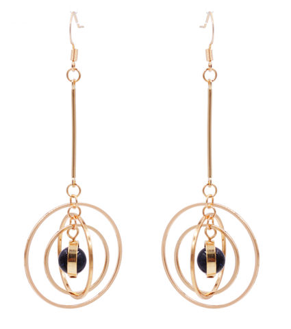 Gold,Plated,'Planet,with,Halo',Universe,Dangle,Earrings,Rotating,Hoops,-,Sparkly,Blue,Sandstone,Semi-Precious,Stone,In,Organza,Bag.,Gold Plated 'Planet with Halo' Universe Dangle Earrings with Rotating Hoops - Sparkly Blue Sandstone - Semi-Precious Stone - In Organza Bag.