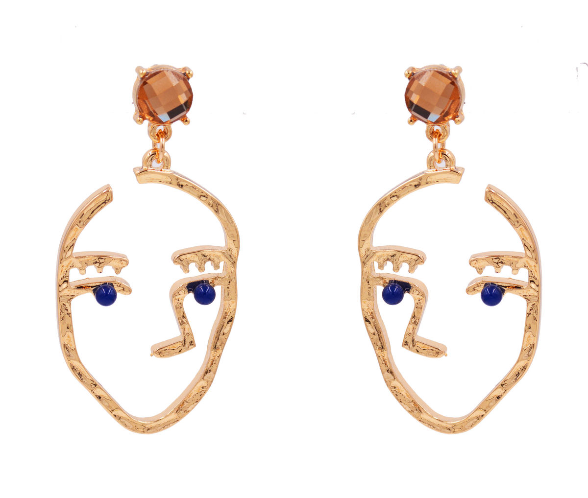 Gold Plated Cutout Human Face Drawing Style Drop Stud Earrings with Sapphire Blue Crystals - Cute Fun and Quirky Jewellery  - product images  of