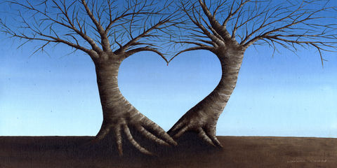It's,not,Rain,,They,are,Tears,(print),surreal trees, surreal print, trees, love trees, heart trees