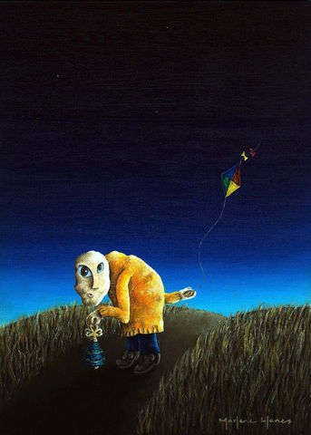 Here,Comes,the,Old,Man,(print),old man, orange sweater, bell, trail, kite, stars, night, dawn
