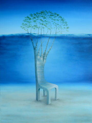 Island,Trees,(print),surreal tree, surreal chair, underwater, island, ocean, beach, wood chair, branches