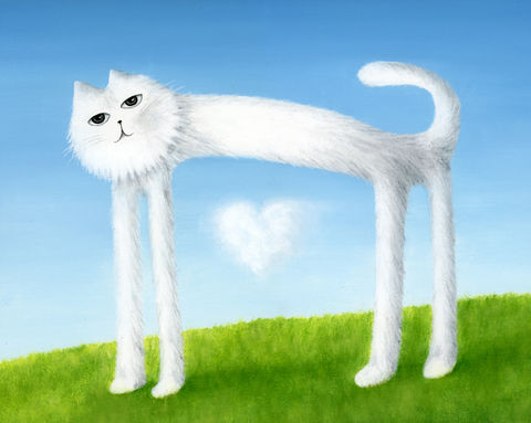 Skinny,Cat,Found,a,Cloud,Heart,(print),cat, skinny cat, cat print, nature print, heart, valentines