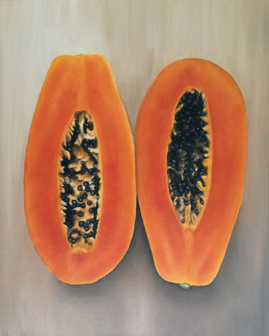 Papaya,(original),papaya painting, fruit, papaya, framed, kitchen, natural, nature