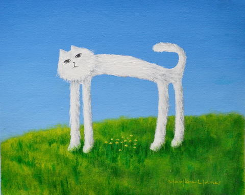 Skinny,Cat,Protects,his,Flowers,(original),cat, skinny cat, nature, flowers, cat painting, cat print