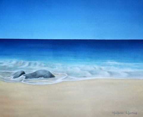 Companion,(original),tropical painting, ocean, sea, blue, Ixtapa, beach, sand, nature, island