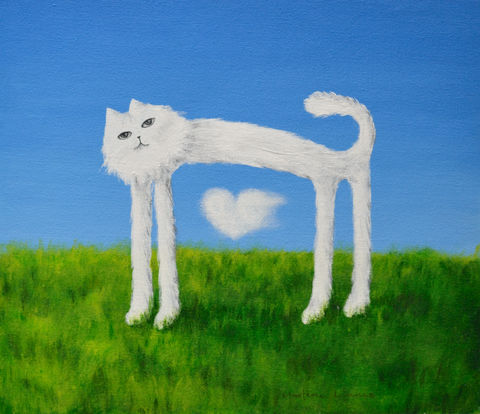 Skinny,Cat,and,his,Cloud,Heart,(original),cat, skinny cat, nature, cloud, white cat, cat painting