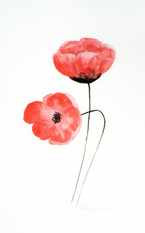 Happy,Red,Poppies,(original,watercolor),red poppies, watercolor