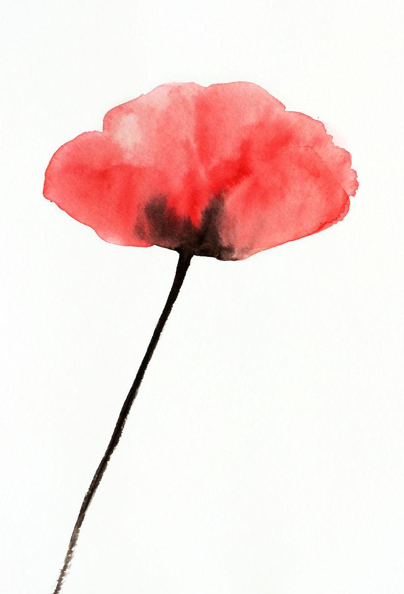 Happy Red Poppy Original Watercolor Marlene Llanes