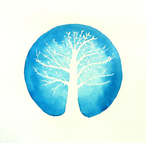 Peaceful,Nature,(original,watercolor),tree, watercolor