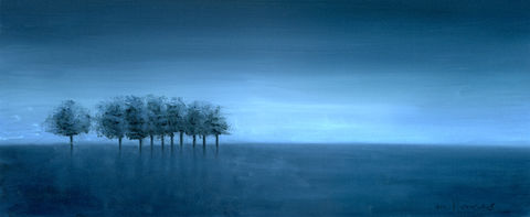 Dawn,Trees,(original),dawn, trees blue, landscape, nature, sky