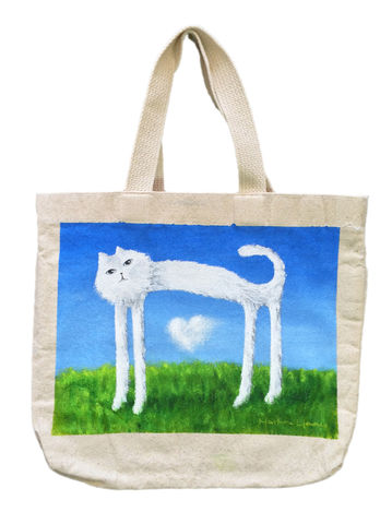 Skinny,Cat,Canvas,Bag,(original,painting,on,bag),cat, skinny cat, nature, cloud, white cat, tote bag