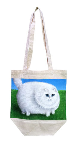 Fat,Cat,Canvas,Bag,(original,painting,on,bag),cat, fat cat, nature, cloud, white cat, tote bag