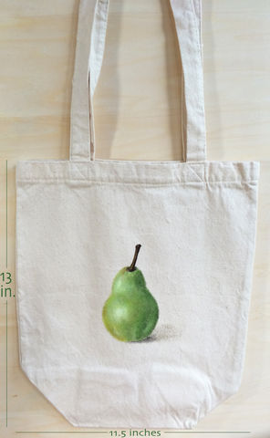 The,Beauty,of,a,Pear,canvas,bag,pear painting, green pear, green fruit, canvas bag