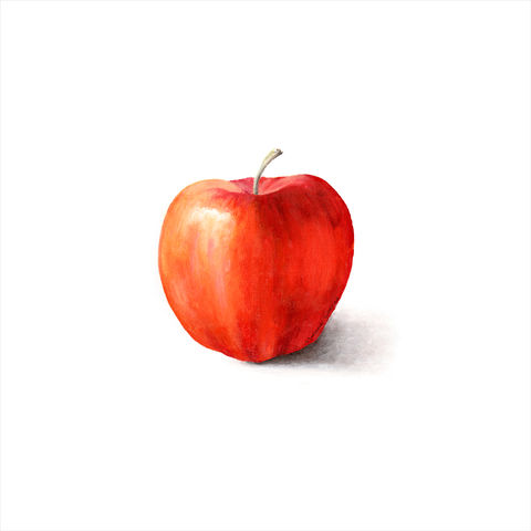 Red,Apple,(print),red, apple, acrylic painting of apple