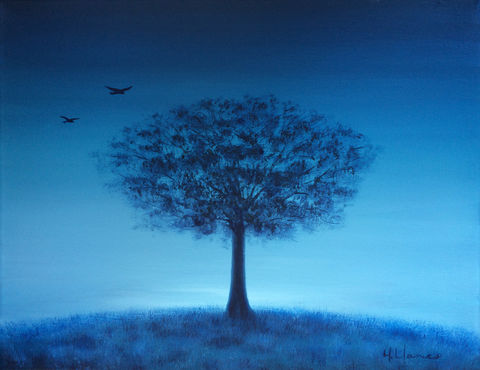 Coming,Home,(print),tree, birds, landscape, sky, blue tree, blue landscape